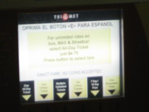 Exact fare required, No coins accepted