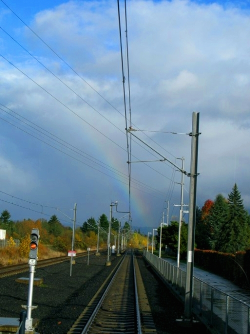 Rainbow over rails